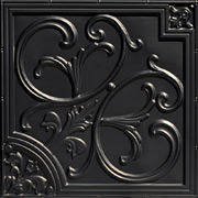 Lilies and Swirls - Faux Tin Ceiling Tile - 24 in x 24 in - #204 - Black