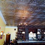 "Elizabethan Shield - Faux Tin Ceiling Tile - 24 in x 24 in - #DCT 04 - Installed at ""Ngon Vietnamese Bistro"" - St Paul, Minnesota, USA"
