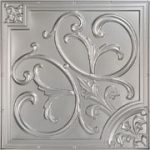 Lilies and Swirls – Faux Tin Ceiling Tile – 24 in x 24 in – #204