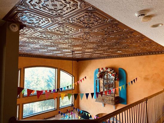 Elizabethan Shield Faux Tin Ceiling Tile 24 in x 24 in – #DCT 04