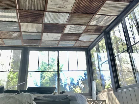 Corrugated Metal – Dakota Tin – 24 in x 24 in – Drop in – Colorado Rustic Steel Ceiling Tile