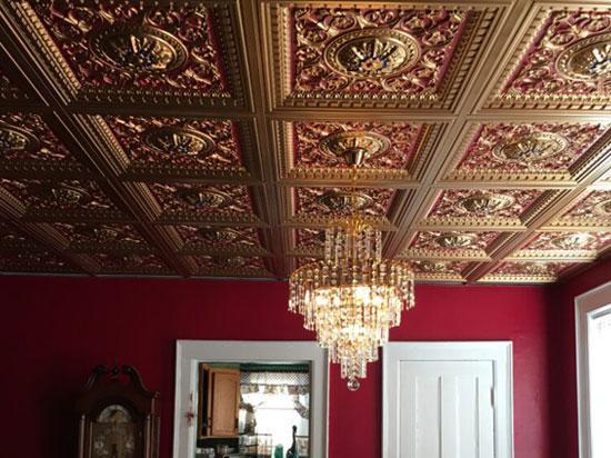 Da Vinci – Faux Tin – Coffered Ceiling Tile – Drop in – 24 in x 24 in – #215