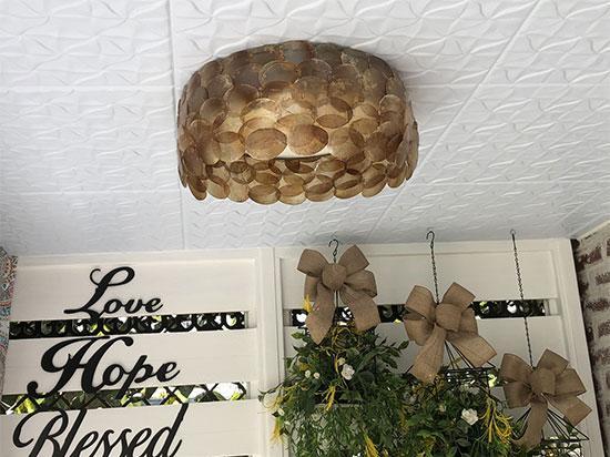 Granny's Pinwheel Quilt Glue-up Styrofoam Ceiling Tile 20 in x 20 in – #R55